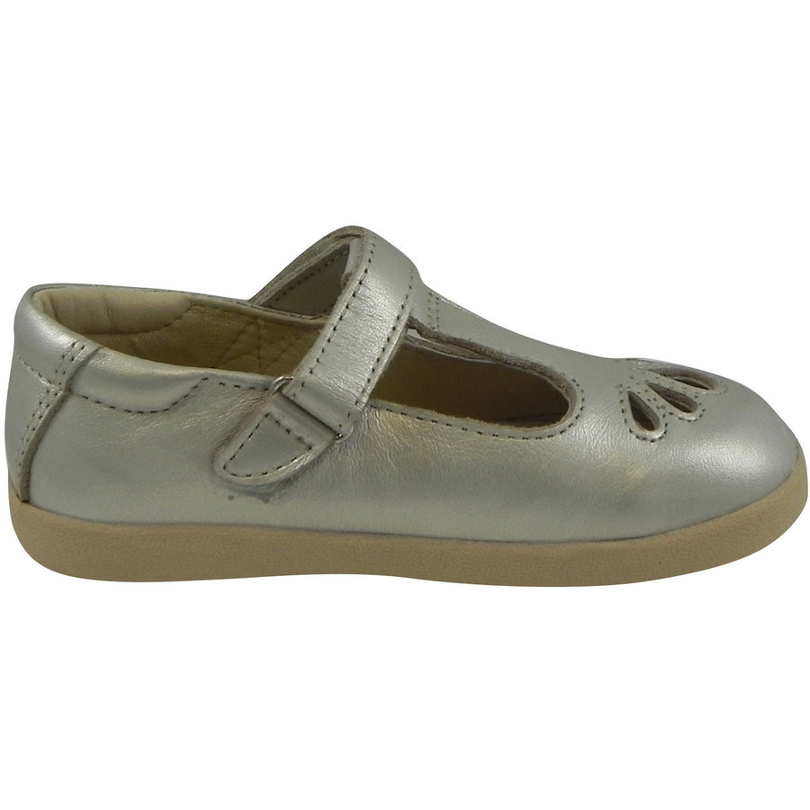 Old Soles Girl's Petals T-Strap Silver Chalk Leather Mary Jane Flat - Just Shoes for Kids  - 4