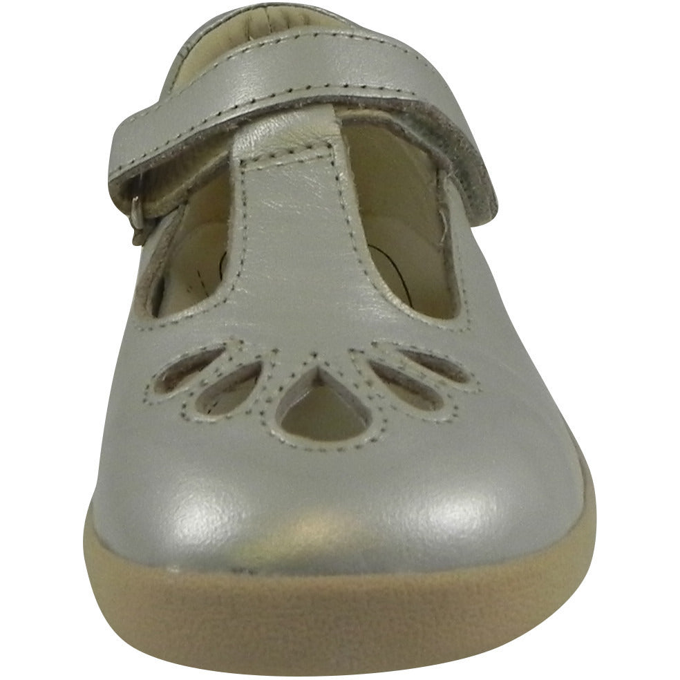 Old Soles Girl's Petals T-Strap Silver Chalk Leather Mary Jane Flat - Just Shoes for Kids  - 5