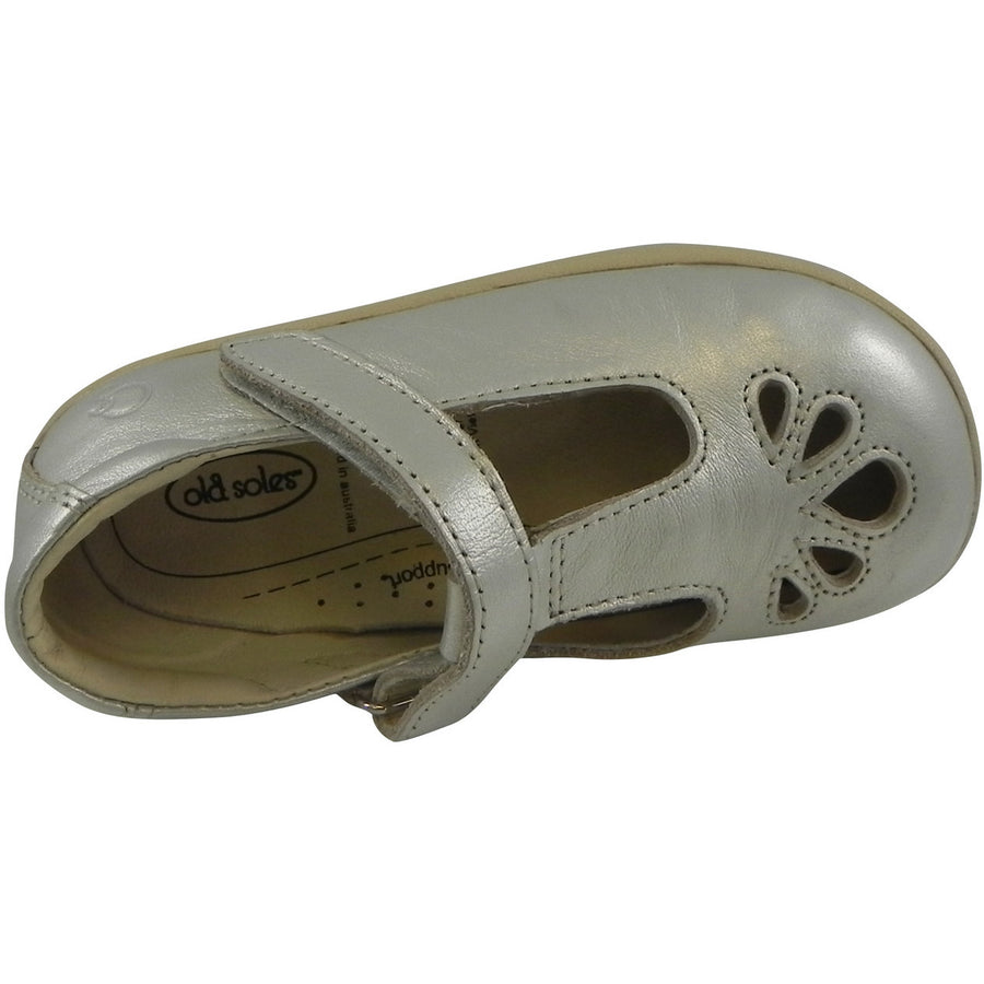 Old Soles Girl's Petals T-Strap Silver Chalk Leather Mary Jane Flat - Just Shoes for Kids  - 6