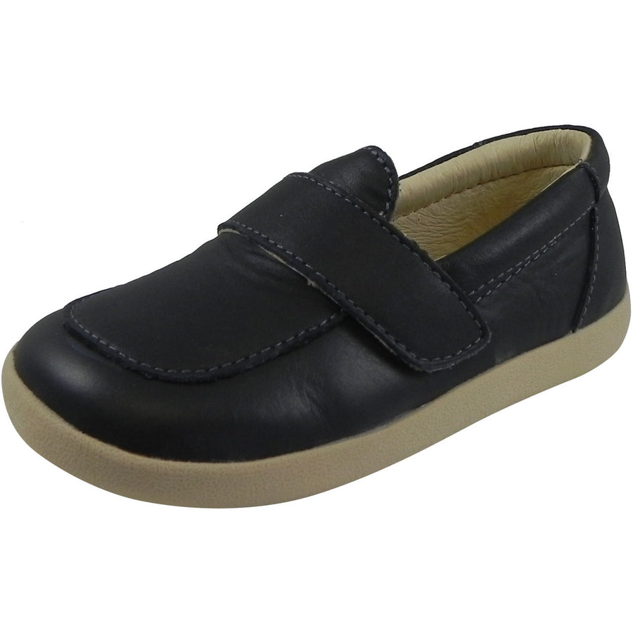 Old Soles Boy's Business Loafer Leather Navy Slip On Shoe Black - Just Shoes for Kids  - 1