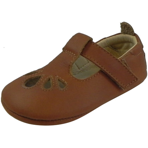 Old Soles Girl's 053 T-Petal Tan Leather Mary Jane - Just Shoes for Kids  - 1