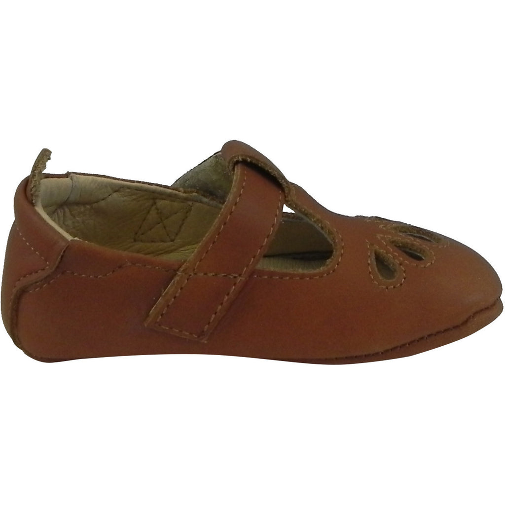 Old Soles Girl's 053 T-Petal Tan Leather Mary Jane - Just Shoes for Kids  - 4
