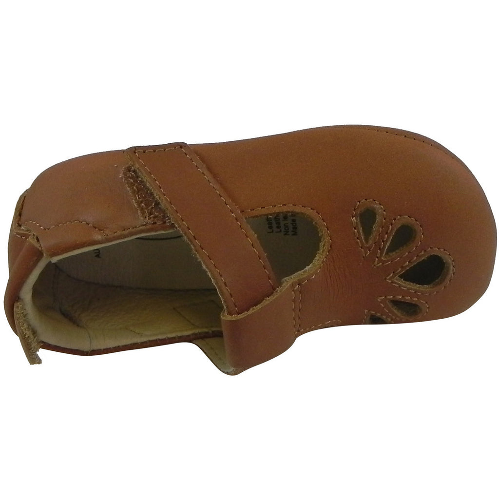 Old Soles Girl's 053 T-Petal Tan Leather Mary Jane - Just Shoes for Kids  - 6