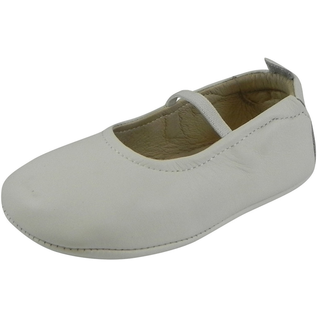 Old Soles Girl's 013 White Leather Luxury Ballet Flat - Just Shoes for Kids  - 1