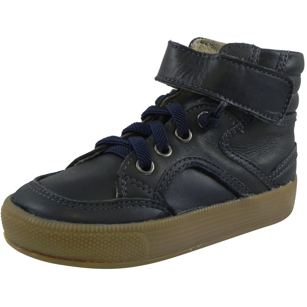 Old Soles 1026 Boy's Navy OS Rap Leather Lace Up Strap High Tops Sneaker - Just Shoes for Kids  - 1