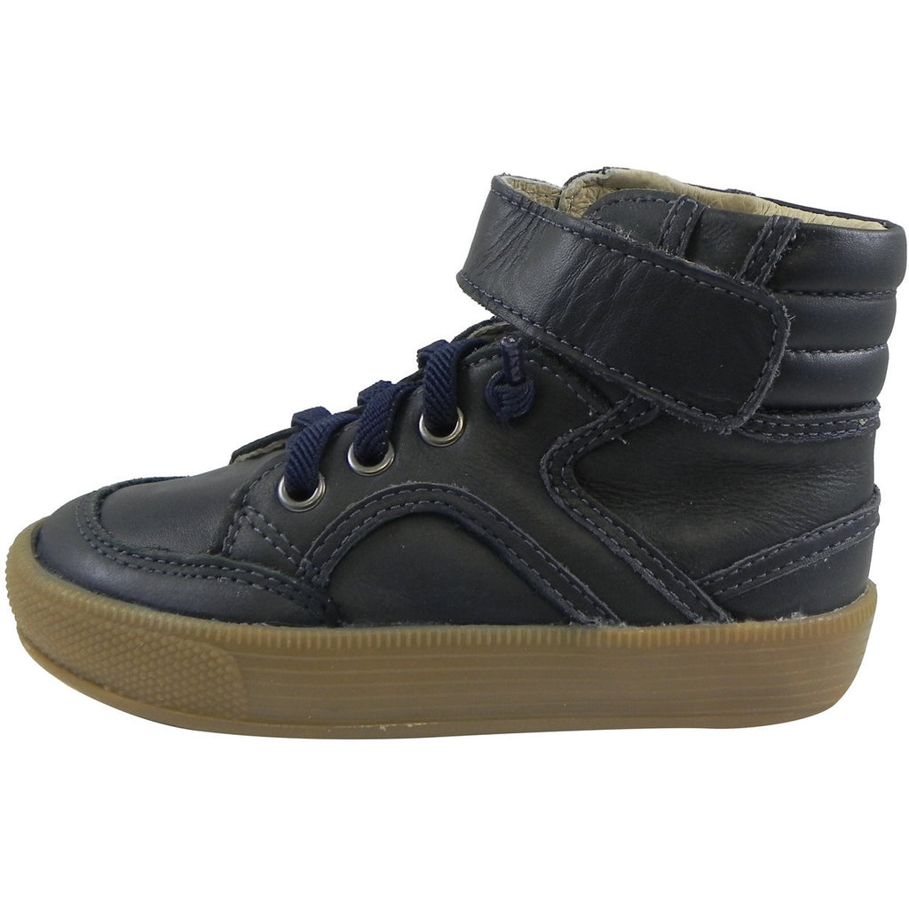 Old Soles 1026 Boy's Navy OS Rap Leather Lace Up Strap High Tops Sneaker - Just Shoes for Kids  - 2