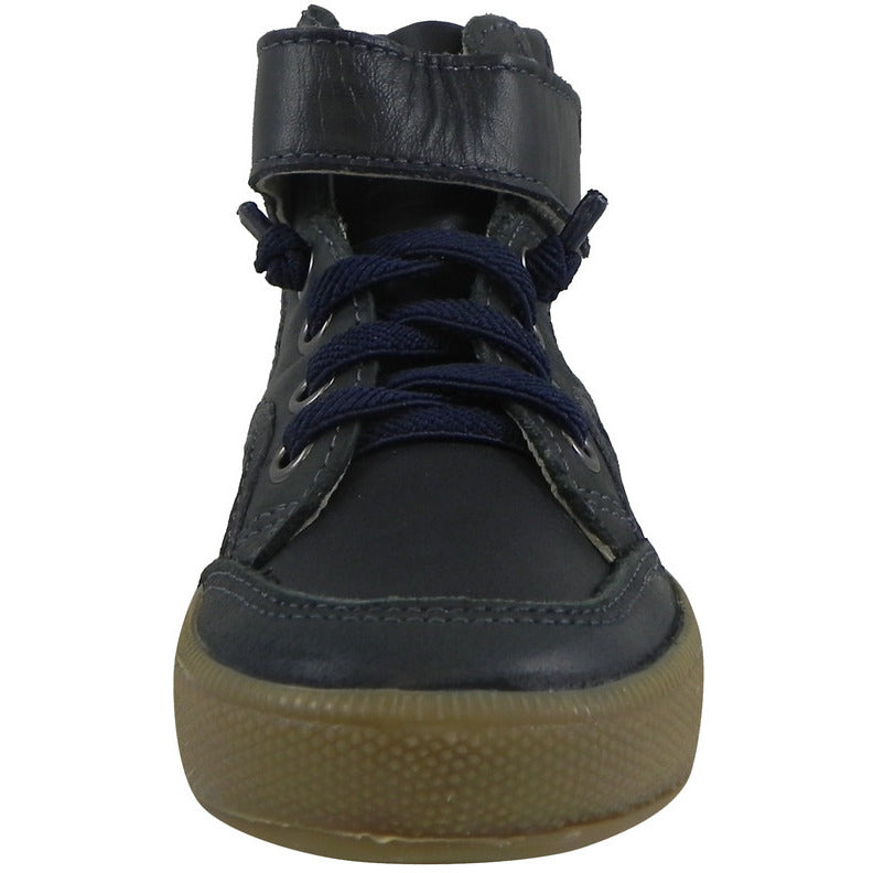 Old Soles 1026 Boy's Navy OS Rap Leather Lace Up Strap High Tops Sneaker - Just Shoes for Kids  - 4