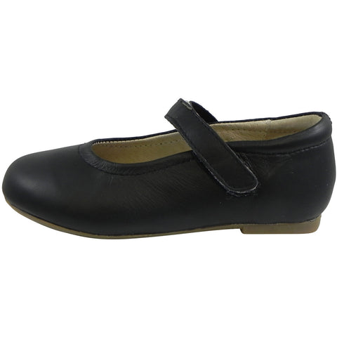 Old Soles Girl's 800 Praline Black Leather Hook and Loop Mary Jane Flats