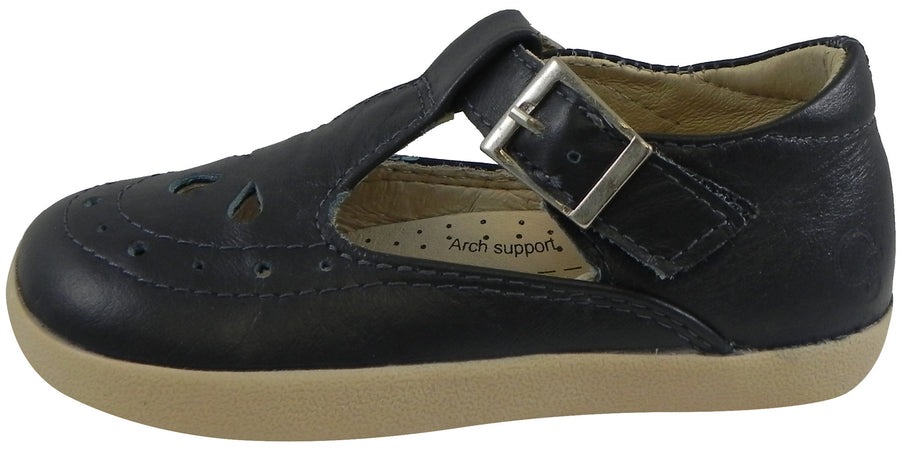 Old Soles Girl's Tea Shoe Navy Leather T-Strap Buckle Mary Jane Shoe