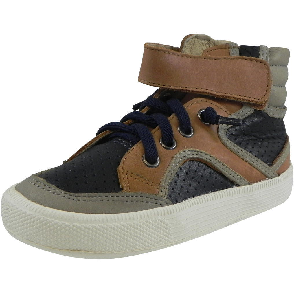 Old Soles 1027 Boy's Tan Navy Grey High Cred Leather Lace Up High Tops Sneaker - Just Shoes for Kids  - 1