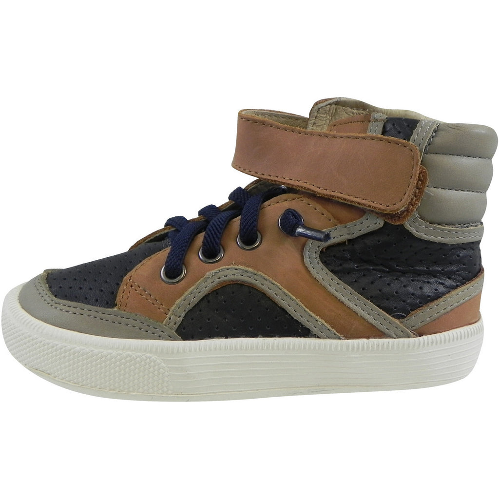 Old Soles 1027 Boy's Tan Navy Grey High Cred Leather Lace Up High Tops Sneaker - Just Shoes for Kids  - 2