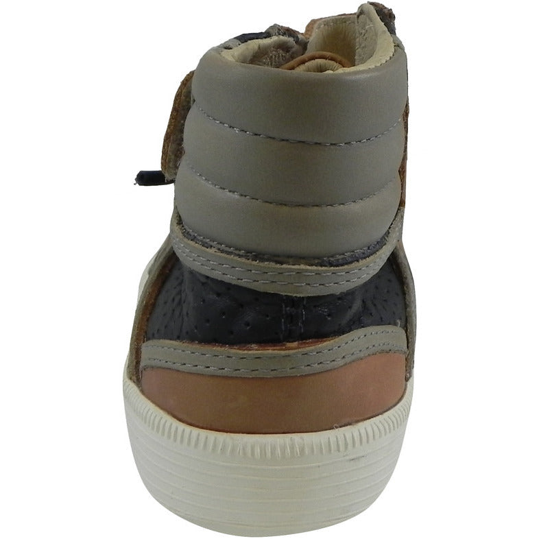 Old Soles 1027 Boy's Tan Navy Grey High Cred Leather Lace Up High Tops Sneaker - Just Shoes for Kids  - 5