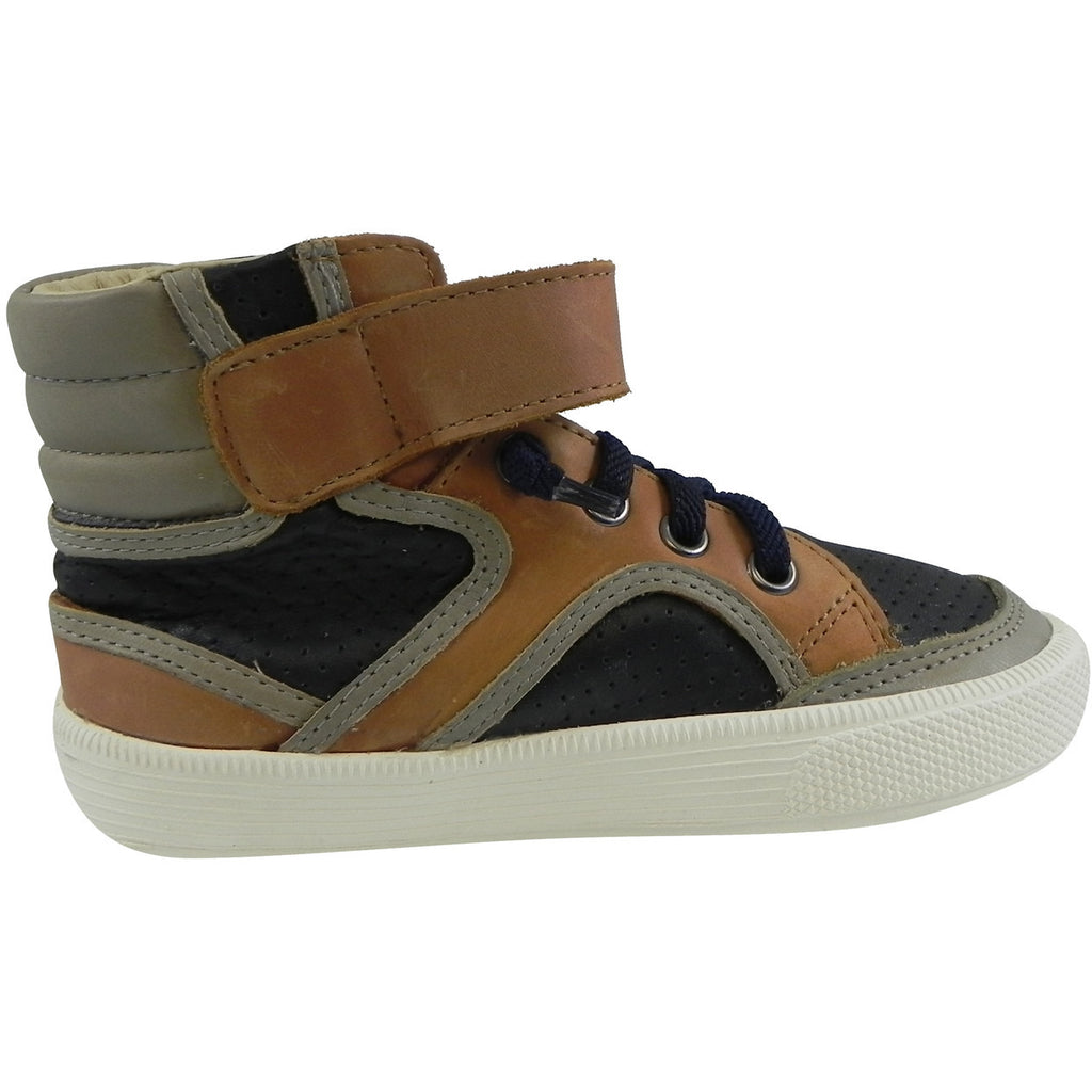 Old Soles 1027 Boy's Tan Navy Grey High Cred Leather Lace Up High Tops Sneaker - Just Shoes for Kids  - 3