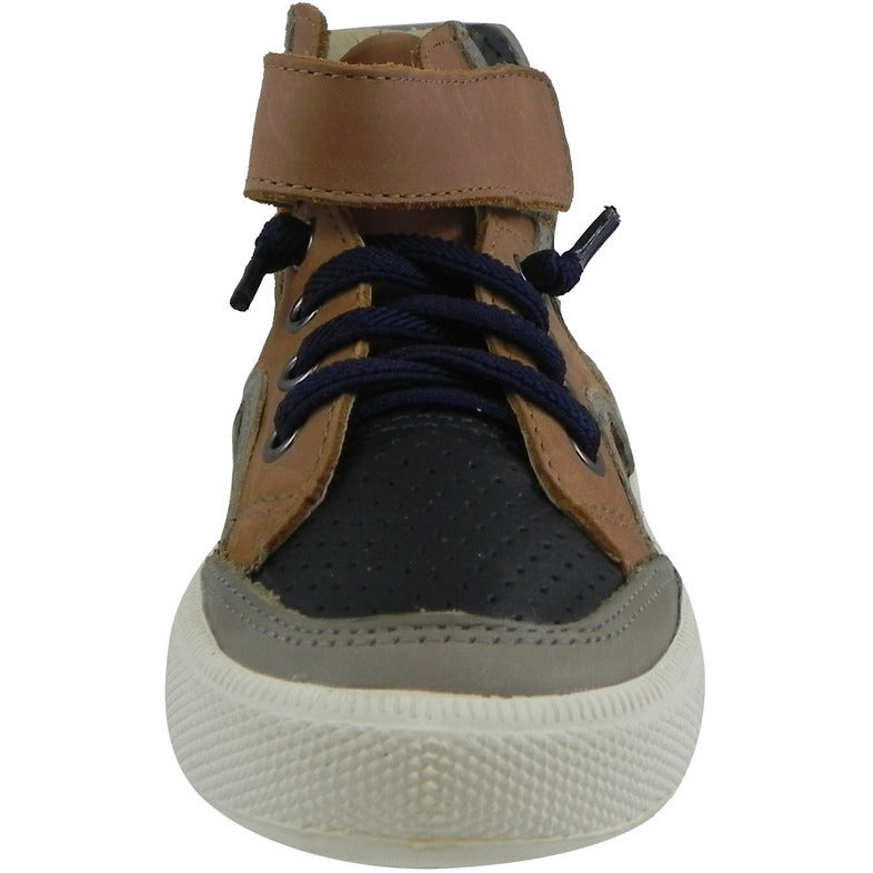 Old Soles 1027 Boy's Tan Navy Grey High Cred Leather Lace Up High Tops Sneaker - Just Shoes for Kids  - 4