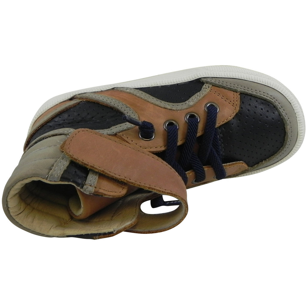 Old Soles 1027 Boy's Tan Navy Grey High Cred Leather Lace Up High Tops Sneaker - Just Shoes for Kids  - 6