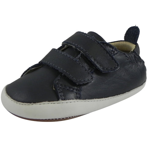Old Soles 113R Boy's Navy Bambini Soft Leather Double Crib Walker Baby Shoes - Just Shoes for Kids  - 1