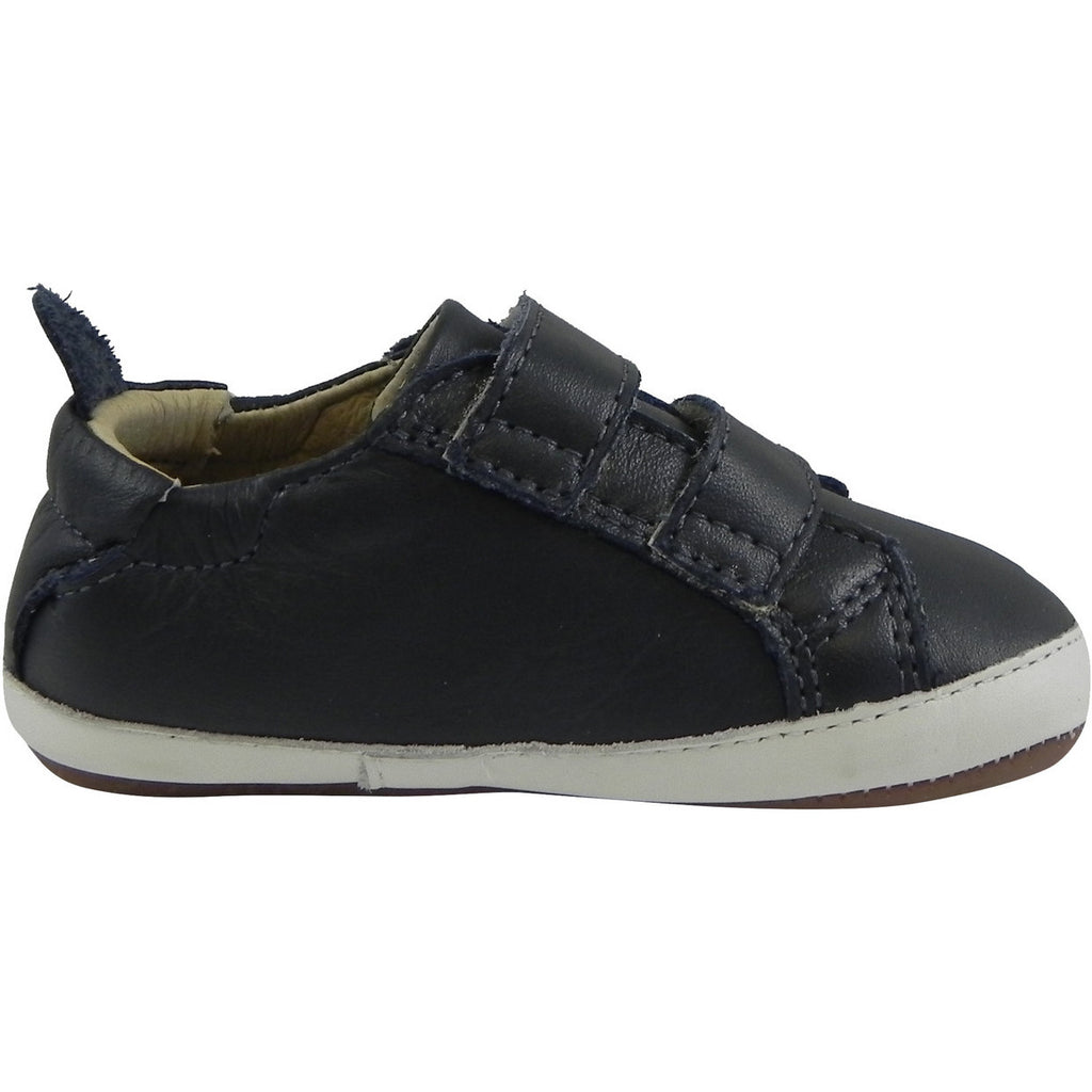 Old Soles 113R Boy's Navy Bambini Soft Leather Double Crib Walker Baby Shoes - Just Shoes for Kids  - 3