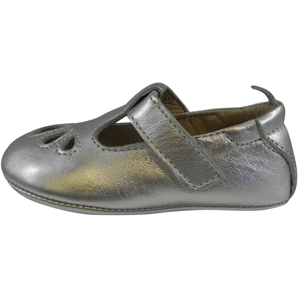 Old Soles Girl's 053 T-Petal Silver Leather T-Strap Mary Jane Flat