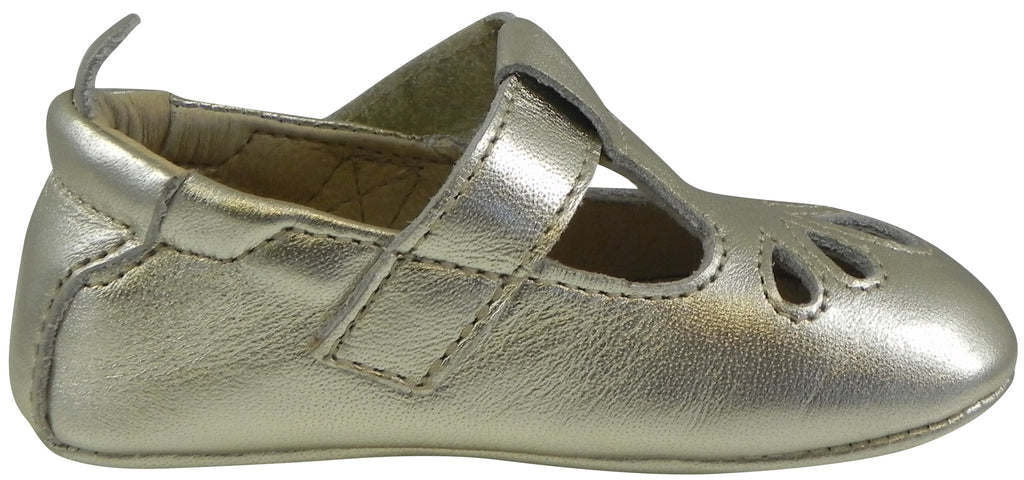 Old Soles Girl's 053 T-Petal Gold Leather T-Strap Mary Jane Shoe
