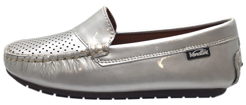 Venettini Girl's & Boy's Dilin Silver Bright Patent Leather Perforated Upper Slip On Moccasin Loafer