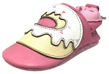 Shooshoos Baby Girl's All About Sprinkles Soft Leather Slip On Elastic Ankle Fun Donut Character First Walker Crib Shoe