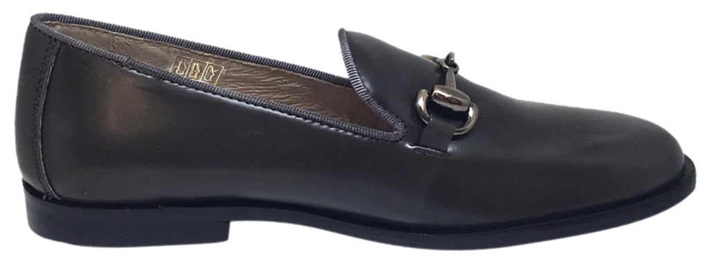 Hoo Shoes Boy's Eric's Smooth Leather High Shine Slip On Upper Detail Oxford Loafer Shoe