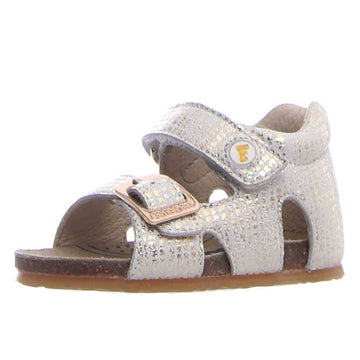 Naturino Falcotto Girl's Bea Suede Open Toe Sandals - White/Gold