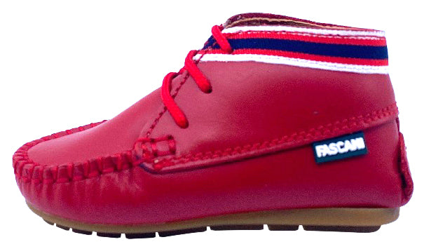 Fascani Boy's 15038 Vermelho Laced Up Leather Bootie - Red