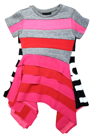 FUN & FUN Striped Fantasy Pink Grey Dress for Girls