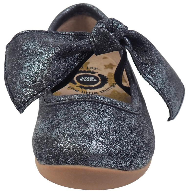 Livie & Luca Girl's Mary Jane with Light Gold Trim, Black Luster