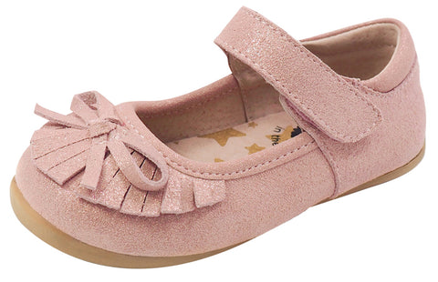 Livie & Luca Girl's Mary Jane with Light Gold Trim, Desert Rose