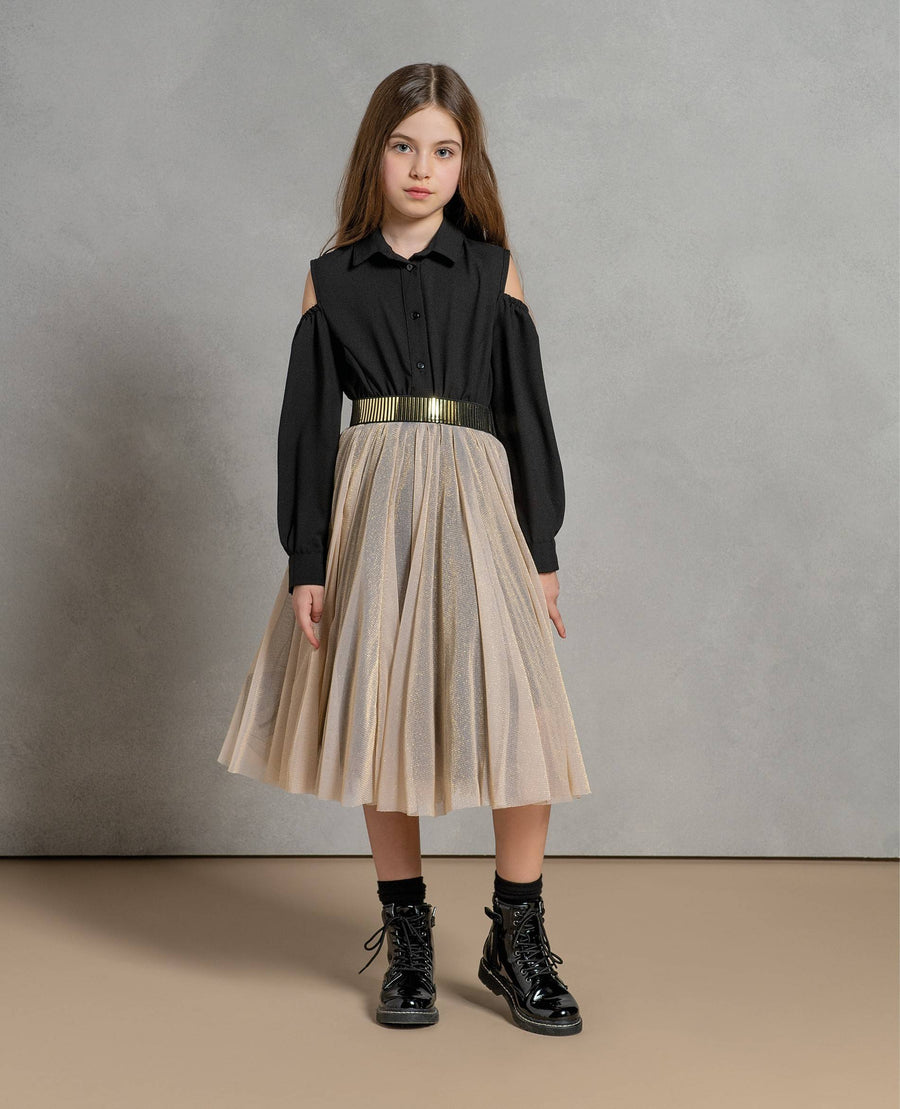 Fracomina Gold Black Two Part Dress (Tween/Teen)