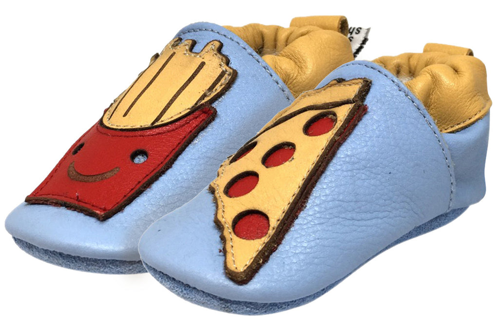 Shooshoos Boy's and Girl's McLovin Blue Soft Leather Slip On Elastic Ankle Fun French Fry Pizza Character First Walker Crib Shoe