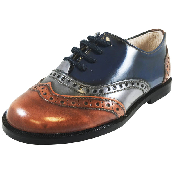 Hoo Shoes Abe S Boy S Brown Grey Navy Tri Color Leather