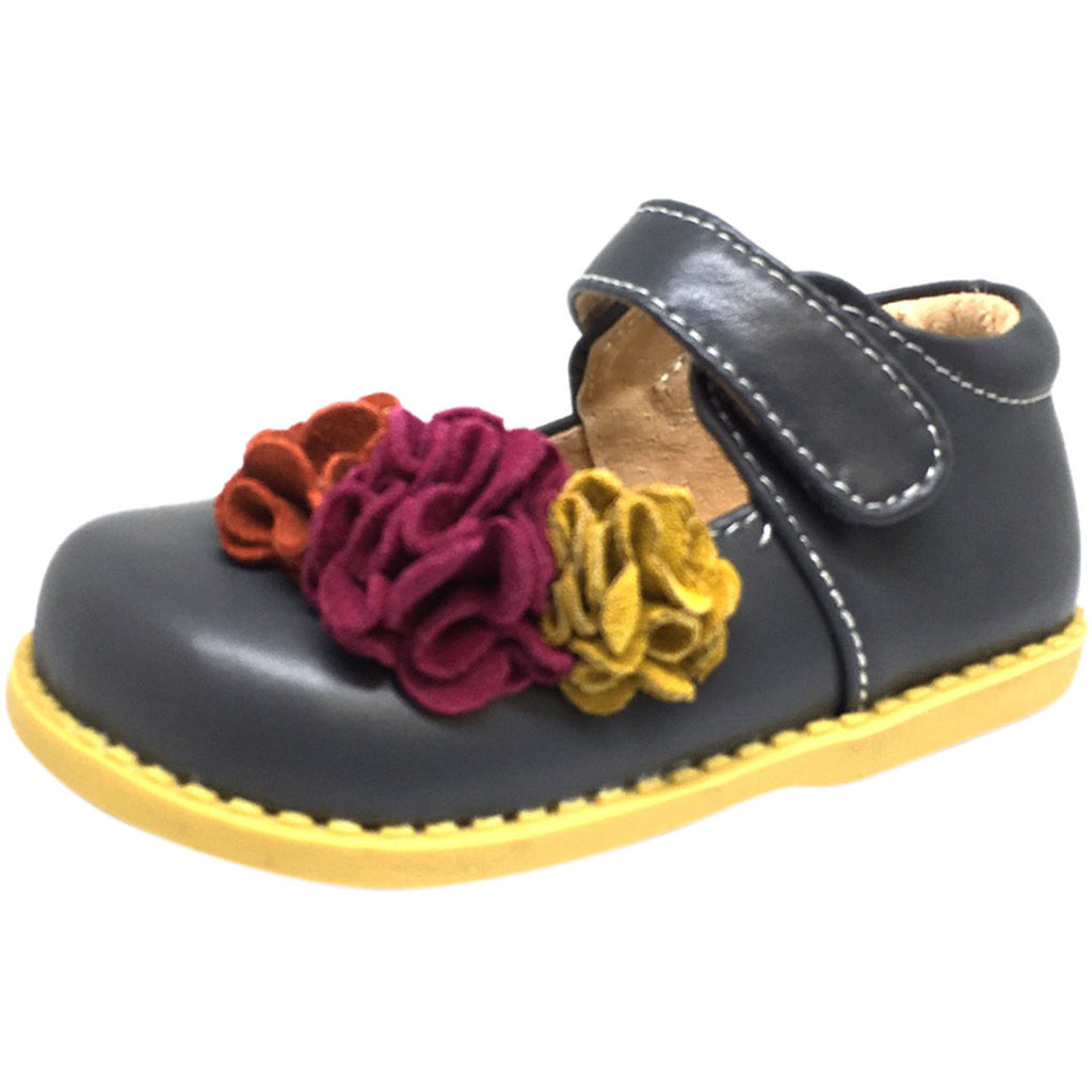 Livie & Luca Girl's Grey Dahlia Leather Suede Flower Hook and Loop Mary Jane Shoes
