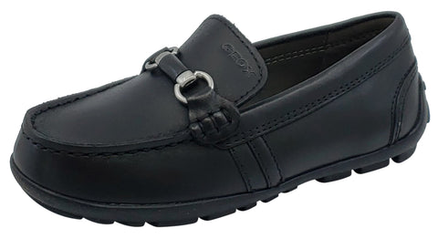 Geox Jr New Fast Mocassin Black Premium Leather Slip On for Boy's