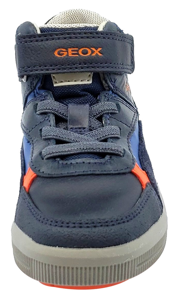 Geox Navy Grey Leather Textile Sneaker Hook and Loop Elastic Junior for Boy's