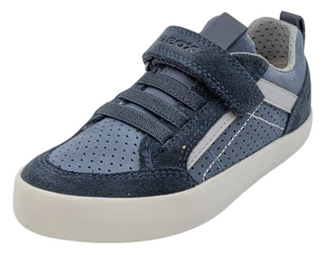 Geox Boy's and Girl's Kilwi Navy Grey Hook and Loop Sneaker