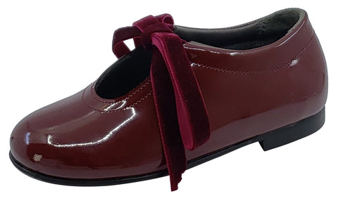 Gepetto's Burgundy Vino Patent Leather Velvet Laces Slip On U Shape Dress Shoe for Girl's
