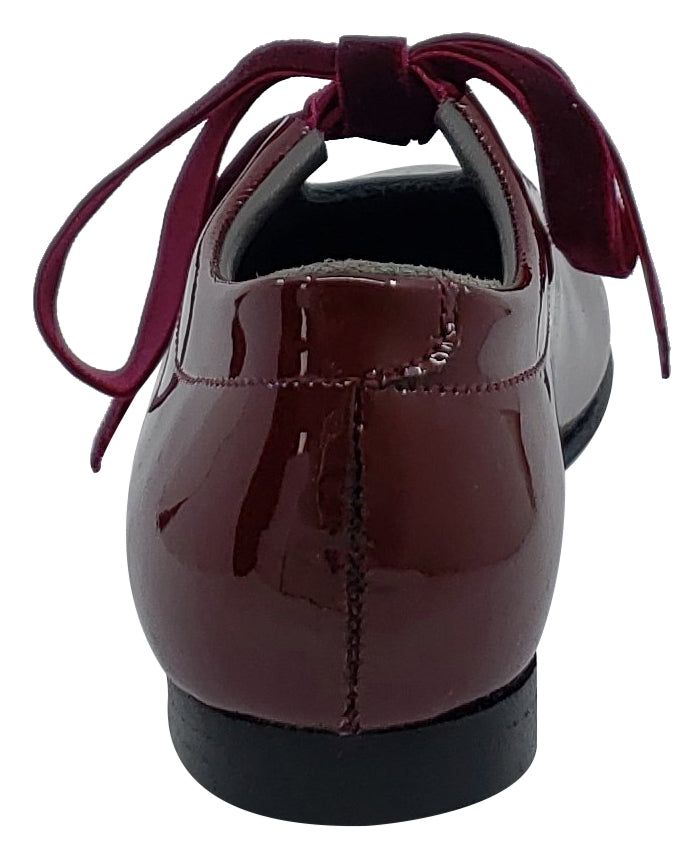 Gepetto's Girl's Burgundy Vino Patent Leather Velvet Laces Slip On U Shape Dress Shoes