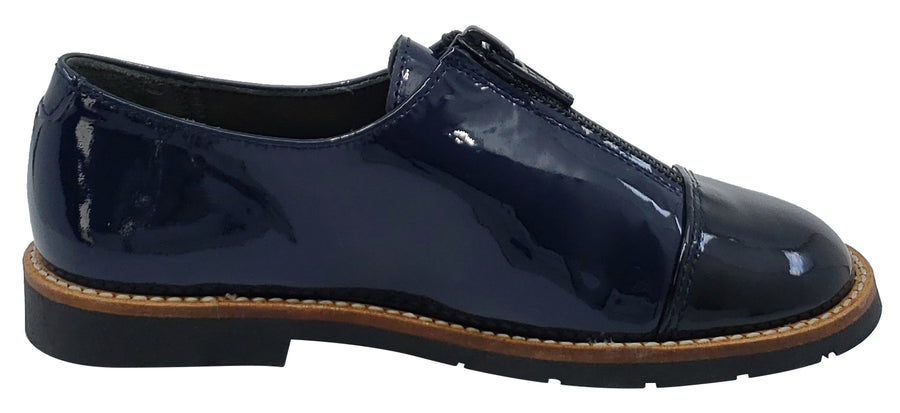 Gepetto's Zipper Bluchers Cayact Blue Patent Dress Shoe for Boy's and Girl's