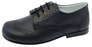 Gepetto's Boy's Blucher Wingtip Leather Black Dress Shoe