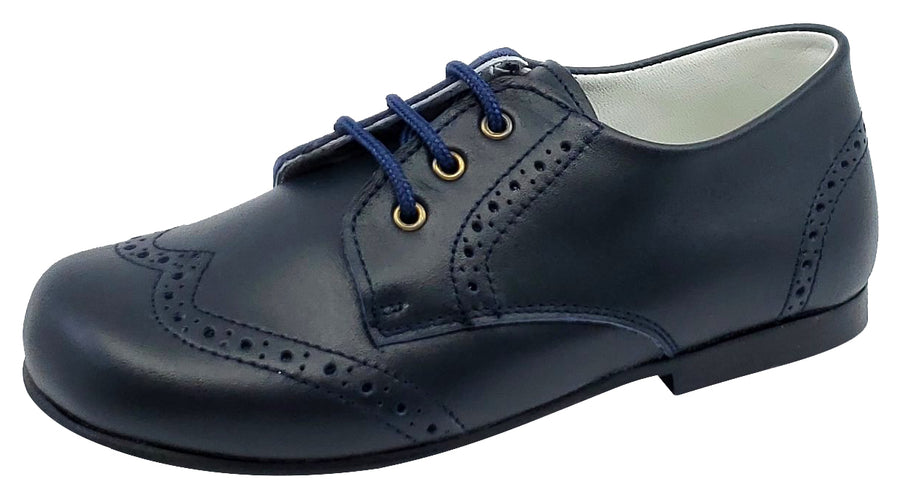 Gepetto's Boy's Blucher Wingtip Leather Navy Dress Shoe