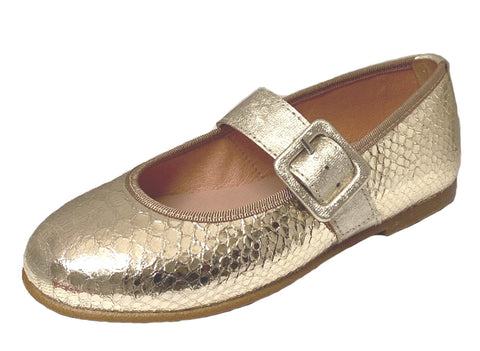 Clarys Girl's Platino Buckle Mary Jane Shoes, Gold