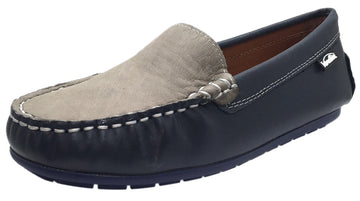 Venettini Girl's & Boy's Gordy Smooth Navy Leather Grey Upper Slip On Moccasin Loafer