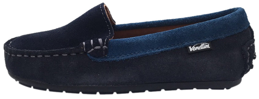 Venettini Girl's & Boy's Gordy Dark Grey Navy Soft Suede Leather Slip On Moccasin Loafer