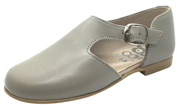 Hoo Shoes Girl's Grey Smooth Leather Single Strap Buckle with Side Cut-Out Oxford Shoes