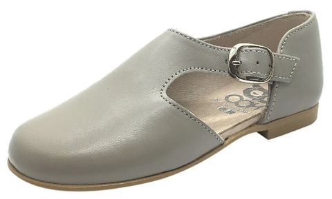 Hoo Shoes Girl's & Boy's Grey Smooth Leather Single Strap Buckle with Side Cut-Out Oxford Shoes 25 M EU/8 M US Toddler