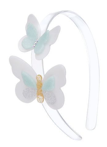 Lilies & Roses NY Double Butterfly Blue Headband