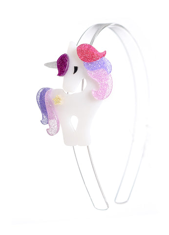 Lilies & Roses NY Girl's Sparkle Pink and Purple Unicorn Headband